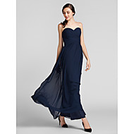 Floor-length Chiffon Bridesmaid Dress - Dark Navy Misses / Pear / Inverted Triangle / Hourglass / Apple / Petite / Plus Sizes