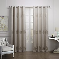 European Two Panels Geometic Off-white  Coffee Living Room Linen/Blend Panel Curtains Drapes