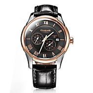 Chens® Men's Eclipse Series Rose Gold Round Plate Calf Strap Double-sided Coating Sapphire Black Dial Watch