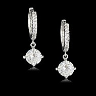 Solitaire Earrings Women's Vermeil/Brass Earring Cubic Zirconia