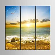 Coast Of Sunrise Scenery Clock in Canvas 3pcs