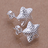 Simple Star Shape Silver Plated Foreign Trade Earring Studs(Silver)(1Pair)