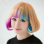 ombre bob corto parrucca sintetica ondulata per le signore del partito bob con frangia piena