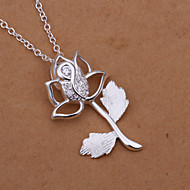 Sweet Rose Pendant Silver Plated Simple Foreign Trade Rolo Silver Pendant Necklace(White)(1Pc)
