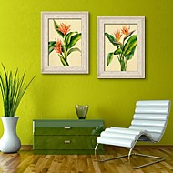 Floral/Botanical Framed Canvas / Framed Set Wall Art,PVC Beige No Mat With Frame Wall Art