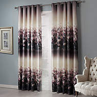 Two Panels Country Floral / Botanical Black Bedroom Polyester Blackout Curtains Drapes
