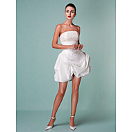 Lanting Ball Gown Plus Sizes Wedding Dress - Ivory Short/Mini Strapless Taffeta