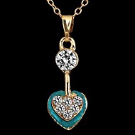 Fashionable Women's Heart-Shaped Crystal Alloy Inlay Rhinestone Necklace (1Pc)(More Colors)