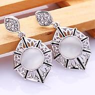 Fashion Geometric-Drop White Platinum-Plated Drop Earrings(White)(1Pair)