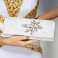 Women Silk Event/Party Evening Bag White / Red