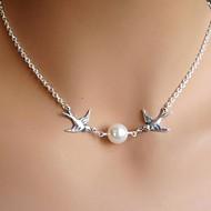 europeo pájaros de moda collar de la aleación de la perla de imitación colgante flaca de las mujeres (1 pc)