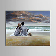 IARTS®Oil Painting People Lovers on Beachs with Stretched Frame Hand-Painted Canvas