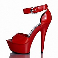 Women's Shoes Leatherette Summer Heels / Platform Party & Evening Stiletto Heel Buckle Black / Red