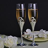 Personalized Toasting Flutes Double Diamond Ring- Set of 2