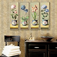 Stretched Canvas Art Beautiful Flowers Decorative painting Set of 4