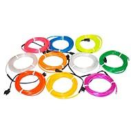 3,2 meter flexibel neonljus glöd dekorativa 2,3 mm diameter el tråd med 2aa batteripaket
