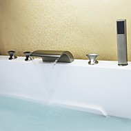 Contemporary Tub And Shower Waterfall / Handshower Included with  Ceramic Valve Three Handles Five Holes for  Nickel Brushed , Bathtub