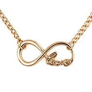 8-Shaped LOVE Pattern Pendent Alloy Necklace Gold (1Pc)