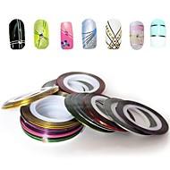 12st gemengde kleuren rollen striping tape lijn nail art decoratie sticker