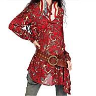 vrouwen opstaande kraag onregelmatige afdrukken blouse