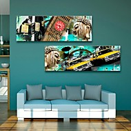 Stretched Canvas Art Buddha And European City Building Decorative  Set of 2