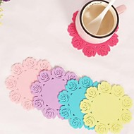 """Rose Shaped Silicone Cup Mat Heat Resistant to High Temperature Prevent Slippery 4""""x4""""x0.1""""(Color Random)"""