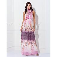 Formal Evening / Prom / Military Ball Dress - Print Plus Sizes / Petite Sheath/Column High Neck Floor-length Chiffon