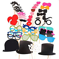44 PCS Card Paper Photo Booth Props Party Fun Favor(Glasses & Hat & Mustache & Hat)