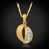 U7®New Vintage 18K Real Gold Platinum 2 Color Plated Rhinestone Crystal Pendant Necklace for Women