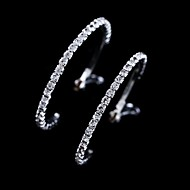 Hoop Earrings Jewelry Women Wedding Party Daily Casual Crystal 1 pair Silver