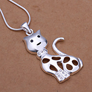 Simple Animal Shape Pendant Silver Plated Smile Cat Silver Pendant Necklace(White)(1Pc)
