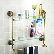 estantes dobles, cuarto de baño antiguo material de aluminio de color bronce, accesorios de baño