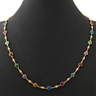 U7®Beautiful Women's Colorful Enamel Hearts Choker Necklace Chain 18K Real Gold Plated Jewelry Gift for Women High High