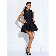 TS Couture® Cocktail Party / Wedding Party Dress - Short Plus Size / Petite A-line Jewel Short / Mini Organza / Taffeta with Beading / Flower(s)