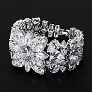 Silver Platinum Plating with Floral-Shaped Cubic Zirconia Bracelets