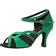 Non Customizable Women's Dance Shoes Latin Leatherette/Paillette Stiletto Heel Green