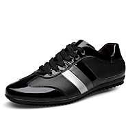 Men's Spring Summer Fall Winter Leather Casual Flat Heel Lace-up Black