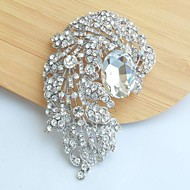 Women's Classic Alloy Silver-tone Clear Rhinestone Crystal Flower Wedding Bridal Brooch Pin