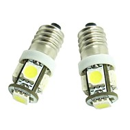 E10 2pcs 1W 5X5050SMD 70-90LM 6500-7500K Warm White Light for Car Door lamp(DC12-16V)