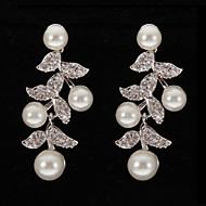 Drop Earrings Women's Platinum Earring Pearl/Rhinestone