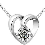 Women's Silver Heart Transprent Crystal Necklace