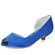 FemininoPeep Toe-Salto Sabrina-Preto / Azul / Rosa / Roxo / Marfim / Branco / Prateado-Cetim-Casamento / Festas & Noite