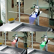 Charmingwater Contemporary  Color Changing LED Waterfall Chrome Brass  Single Handle  Bathroom Vessel Faucet