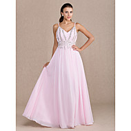 동창회 드레스 - 핑크 얼굴이 빨개 플러스 칼집 / 칼럼 V 넥 바닥 길이 쉬폰 크기