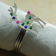 Vánoční sob prsten ubrousku mnoho barev, akryl, 4,5 cm, sada 12