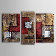 Oil Paintings Set of 3 Modern Abstract Reds Brown  Hand-painted Canvas Ready to Hang