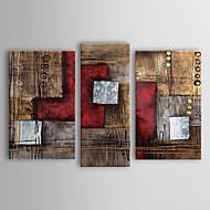 olieverfschilderijen set van 3 moderne abstracte rood bruin met de hand beschilderd doek klaar om op te hangen
