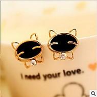 Women's Fashion Cute Black Diamond Smiley Cat Earrings