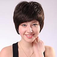 capless acastanhadas preto encaracolado perucas de cabelo humano curtas