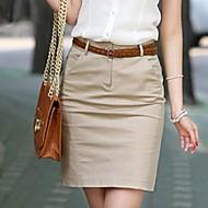 Women's Black/Yellow Skirts , Work/Plus Sizes Above Knee